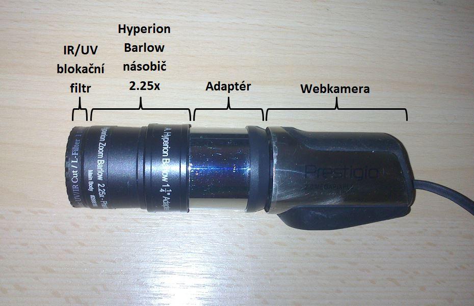 Detail použité webkamery s popisem